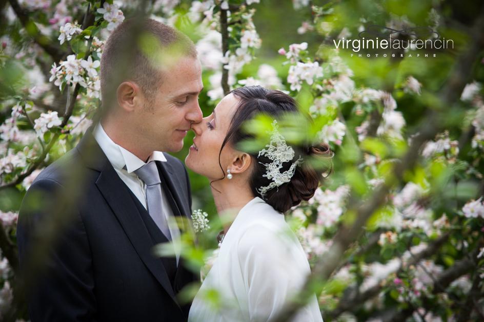 Baiser romantique cerisier en fleurs